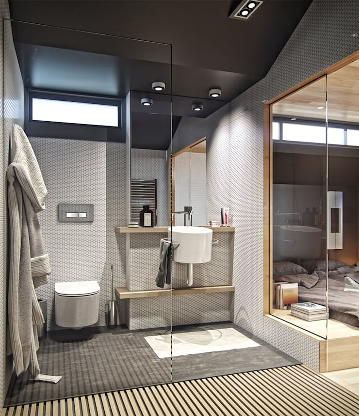 Residential house reconstruction with addition of a mansard floor: Ванные комнаты в . Автор – Denis Svirid