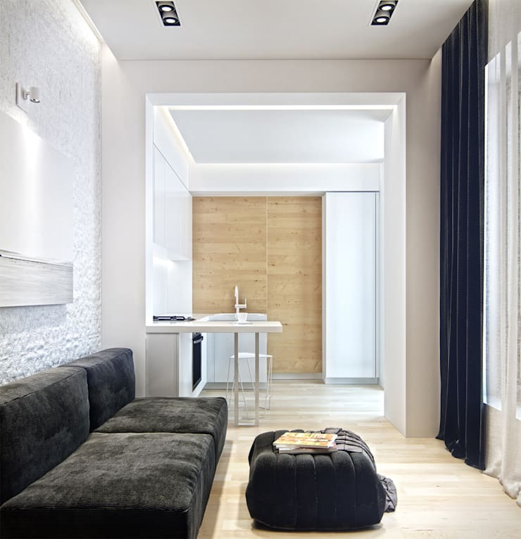 Residential house reconstruction with addition of a mansard floor: Гостиная в . Автор – Denis Svirid