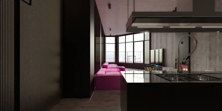 ik1-house: Гостиная в . Автор – IGOR SIROTOV ARCHITECTS, Минимализм
