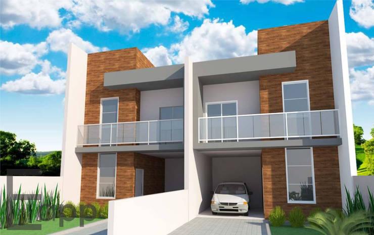 Geminado Joinville: Casas  por Estúdio Criativo Arquitetura e Interiores