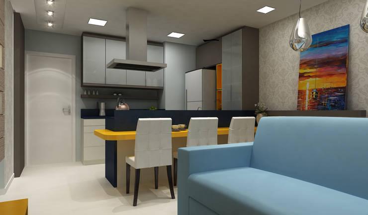 Apartamento Eduardo e Fernanda: Sala de jantar  por Estúdio Criativo Arquitetura e Interiores
