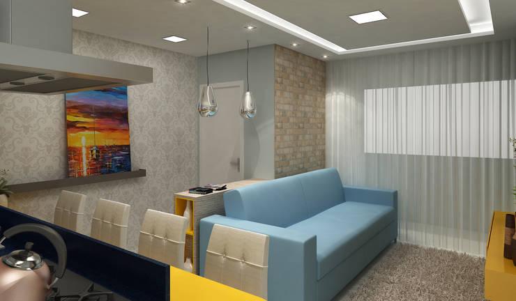 Apartamento Eduardo e Fernanda: Sala de estar  por Estúdio Criativo Arquitetura e Interiores