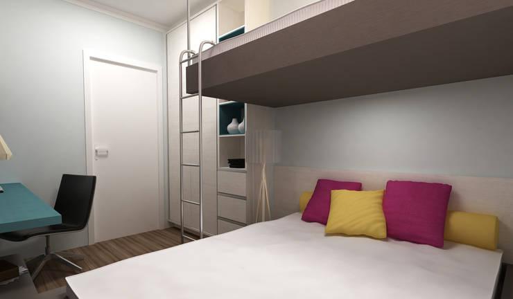 Apartamento Eduardo e Fernanda: Quarto  por Estúdio Criativo Arquitetura e Interiores