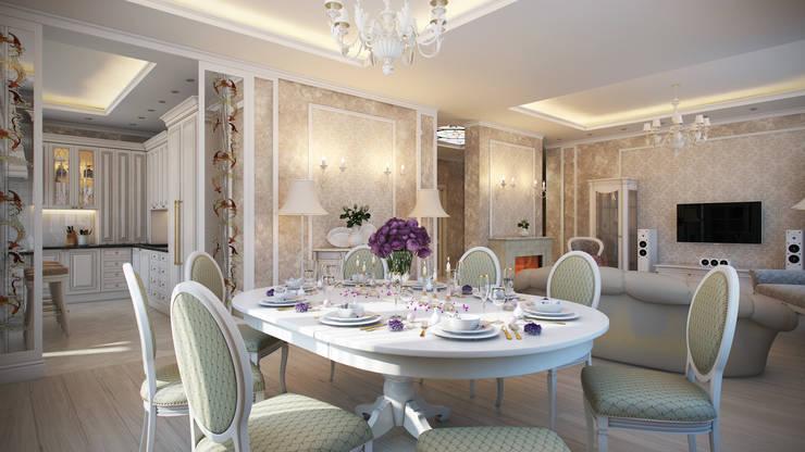 Четырехкомнатная квартира в классическом стиле: Столовые комнаты в . Автор – Details, design studio