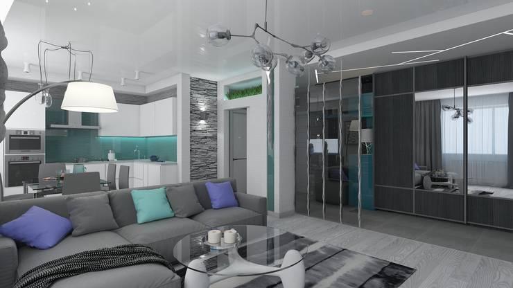 дизайн квартиры в стиле хай-тек: Гостиная в . Автор – архитектор-дизайнер Алтоцкий Михаил (Altotskiy Mikhail)