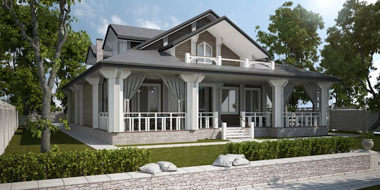 Проект дома в классическом стиле: Дома в . Автор – Way-Project Architecture & Design, Классический Дерево Эффект древесины