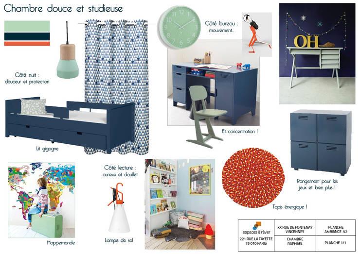 """Planche ambiance d'une chambre d'enfant """"Douce et studieuse"""" / Réalisation : Espaces à Rêver: Chambre d'enfant de style  par Espaces à Rêver"""