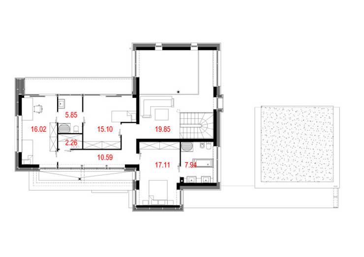Projekty domów - House x02: styl , w kategorii  zaprojektowany przez Majchrzak Pracownia Projektowa