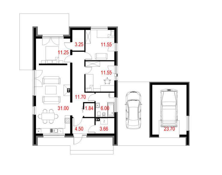Projekty domów - House 14: styl , w kategorii  zaprojektowany przez Majchrzak Pracownia Projektowa