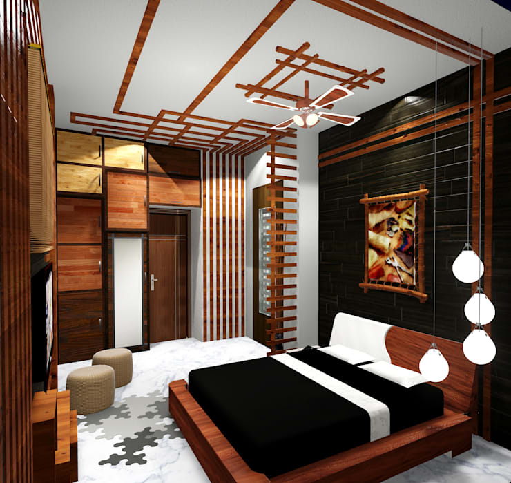 Room 1 bed view : modern Bedroom by Creazione Interiors