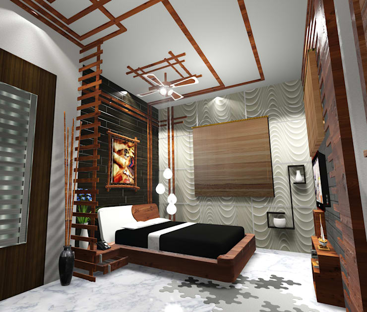 Room 1 bed view: modern Bedroom by Creazione Interiors