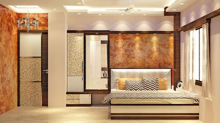 Room 2 bed view:  Bedroom by Creazione Interiors