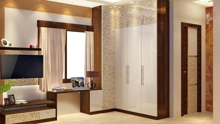 Room 2 wardrobe view: modern Bedroom by Creazione Interiors