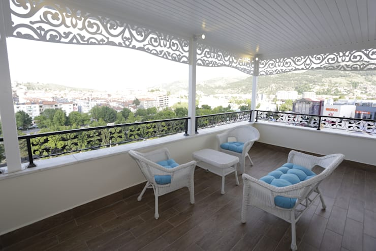 Murat Aksel Architecture – Housing: modern tarz Balkon, Veranda & Teras
