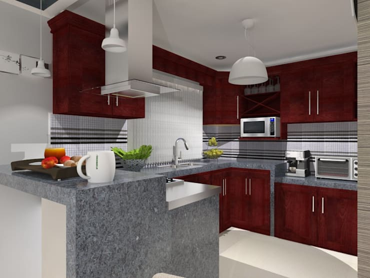PROYECTO SAYAVEDRA: Cocinas de estilo  por AurEa 34 -Arquitectura tu Espacio-