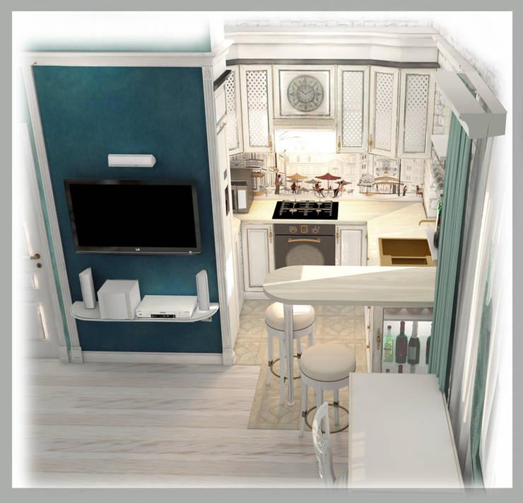 Вид на зону кухни : Кухни в . Автор – Рязанова Галина