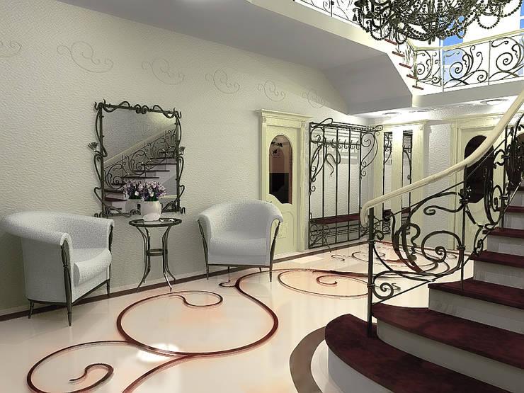 Холл загородного дома в стиле Ар-деко: Коридор и прихожая в . Автор – ООО 'Бастет',
