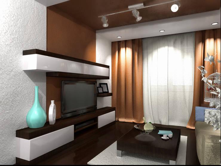 Проект гостиной в стиле минимализм: Гостиная в . Автор – ООО 'Бастет', Минимализм