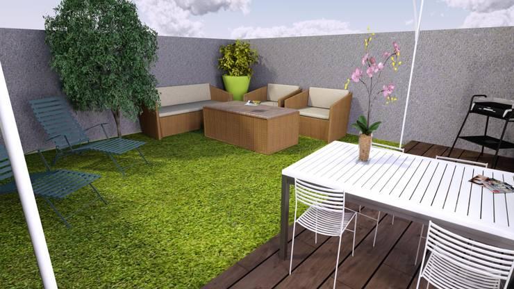 Maison de ville 65 m²: Jardin de style  par Agence 3Dimensions
