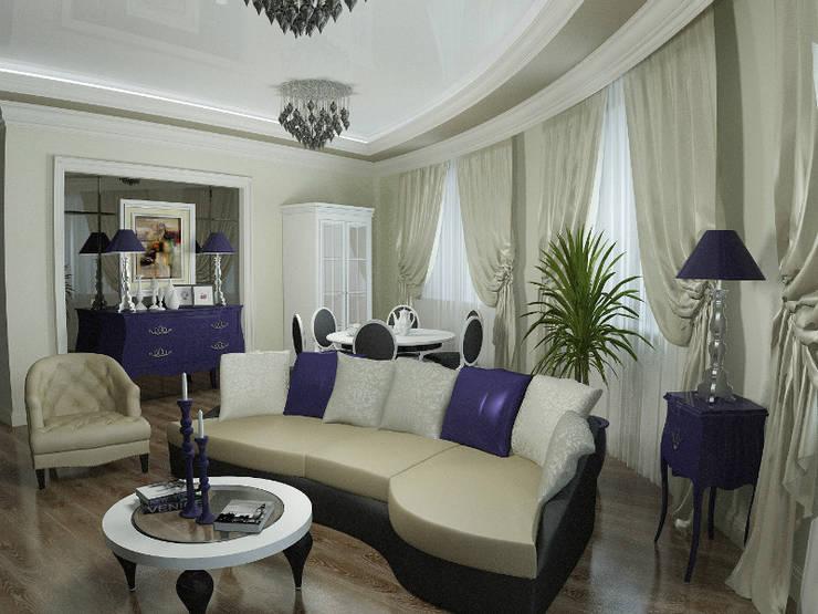 Проект гостиной в стиле эклектика: Гостиная в . Автор – ООО 'Бастет'