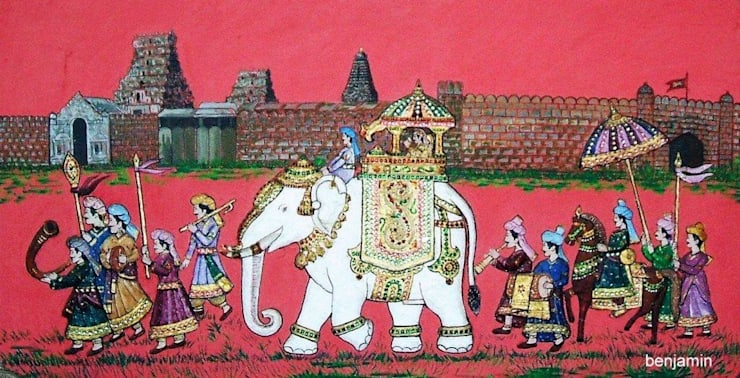 Indian king procession:  Walls by Ben wall mural art