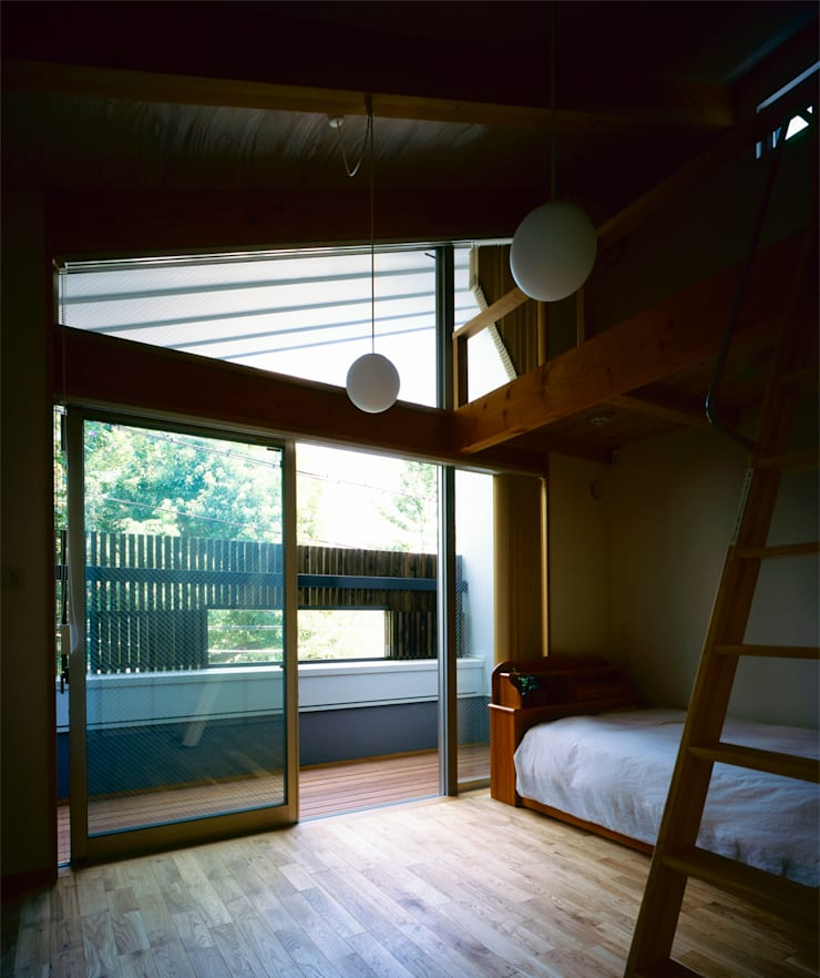 部屋、ロフト: エム・アイ・エー・アーキテクツ有限会社が手掛けた寝室です。