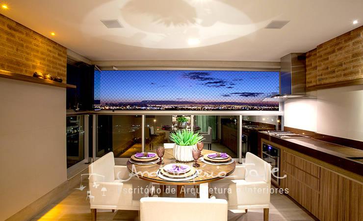 Projeto Anual Design – Apartamento Park Sul: Salas de jantar  por Ana Valeria Valle
