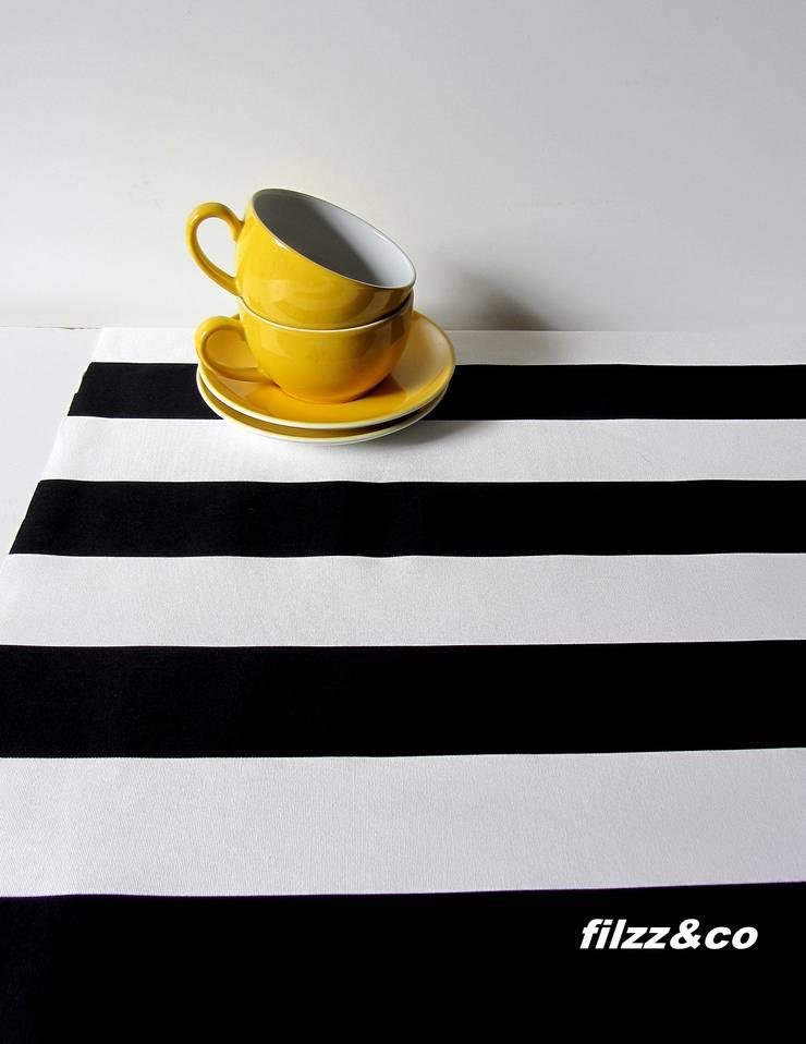 Tischläufer Schwarz Weiß tischläufer tischdecke decke schwarz-weiß gestreift 50x140cm von