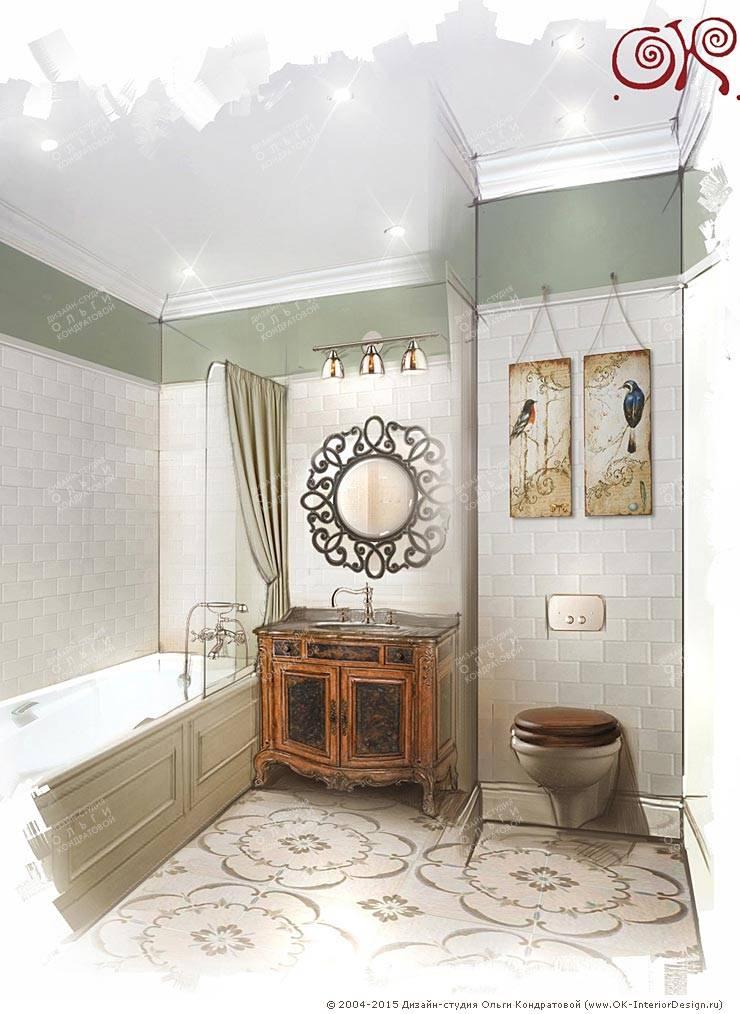Дизайн квартиры в подарок матери: Ванная комната: Ванные комнаты в . Автор – Дизайн студия Ольги Кондратовой