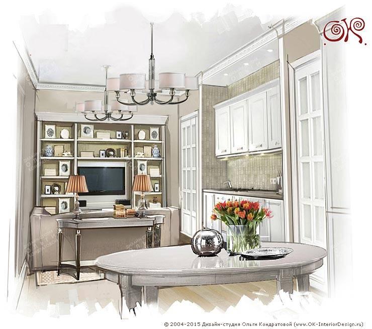 Дизайн квартиры в подарок матери: Кухня-гостиная: Гостиная в . Автор – Дизайн студия Ольги Кондратовой