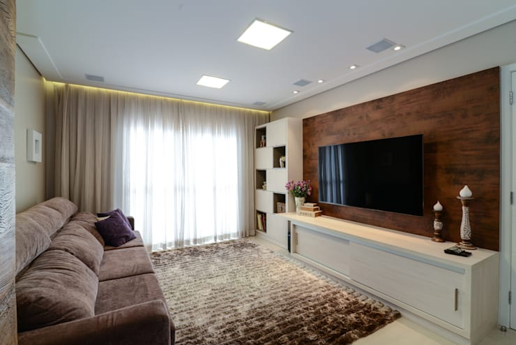 Salas multimedia de estilo moderno por LAM Arquitetura | Interiores