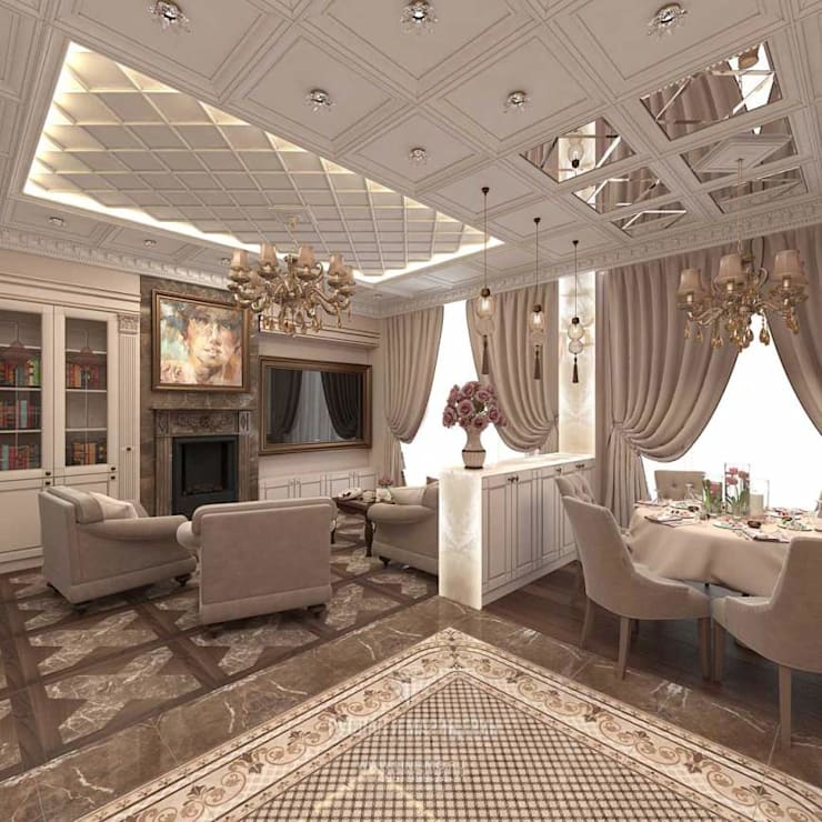 Дизайн бежевой гостиной в стиле модерн в «Сколково парк»: Гостиная в . Автор – Студия дизайна интерьера Руслана и Марии Грин