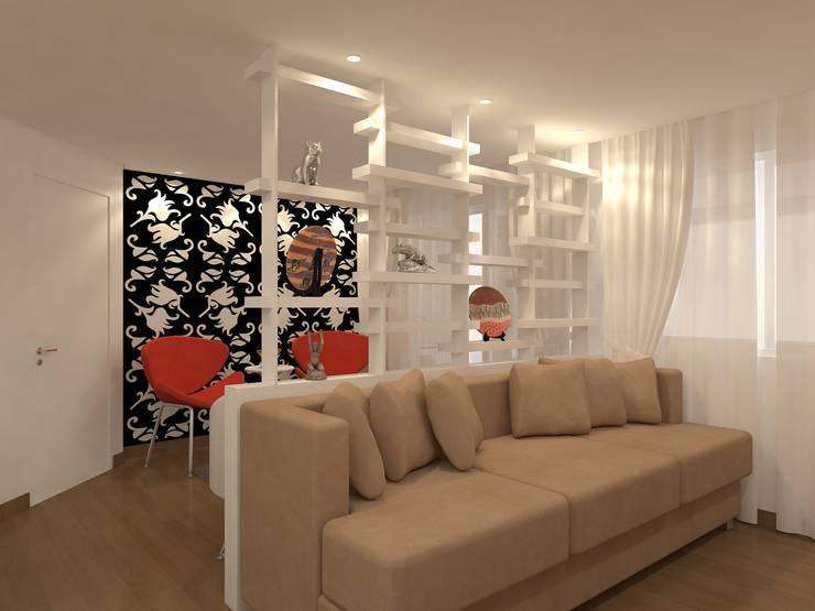 sala estar estante: Sala de estar  por Danielle David Arquitetura