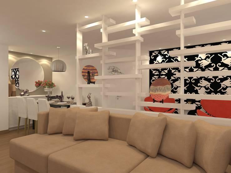Estante: Sala de estar  por Danielle David Arquitetura