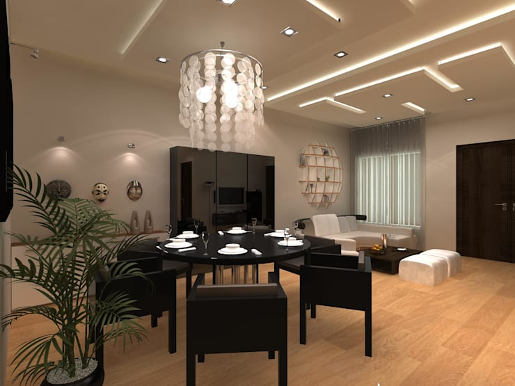 C-1860 Sushant Lok 1, Gurgaon, Haryana:  Dining room by Indeera Builders Private Limited