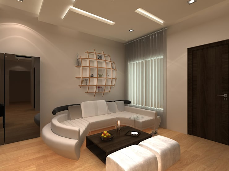 C-1860 Sushant Lok 1, Gurgaon, Haryana:  Living room by Indeera Builders Private Limited