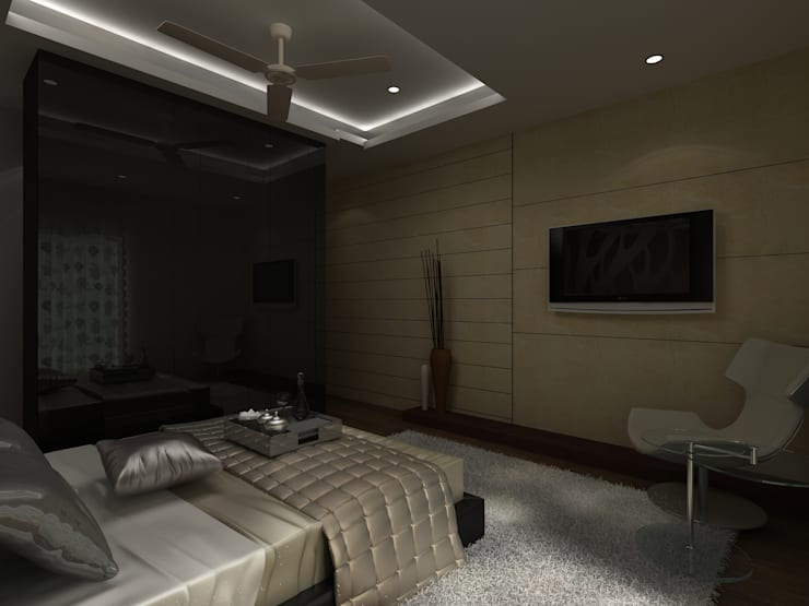C-1860 Sushant Lok 1, Gurgaon, Haryana:  Bedroom by Indeera Builders Private Limited