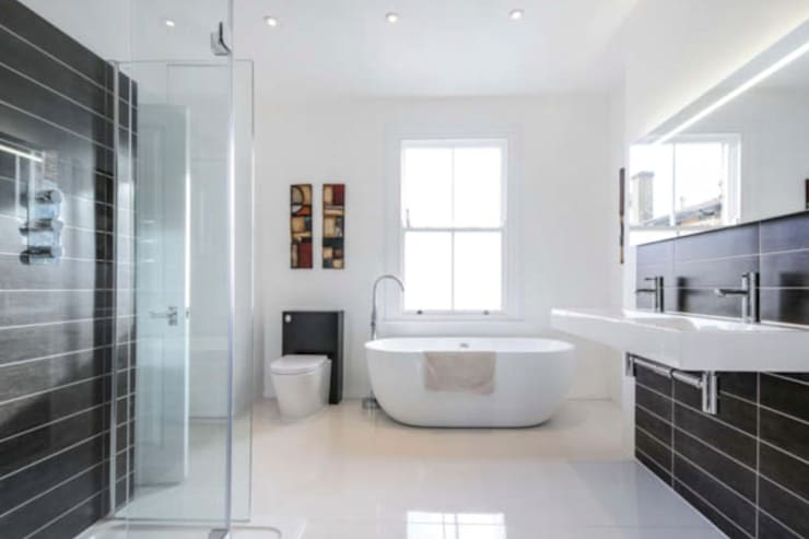 Architect designed rear house extension Herne Hill SE24 Lambeth – Bathroom area:  Bathroom by GOAStudio | London residential architecture