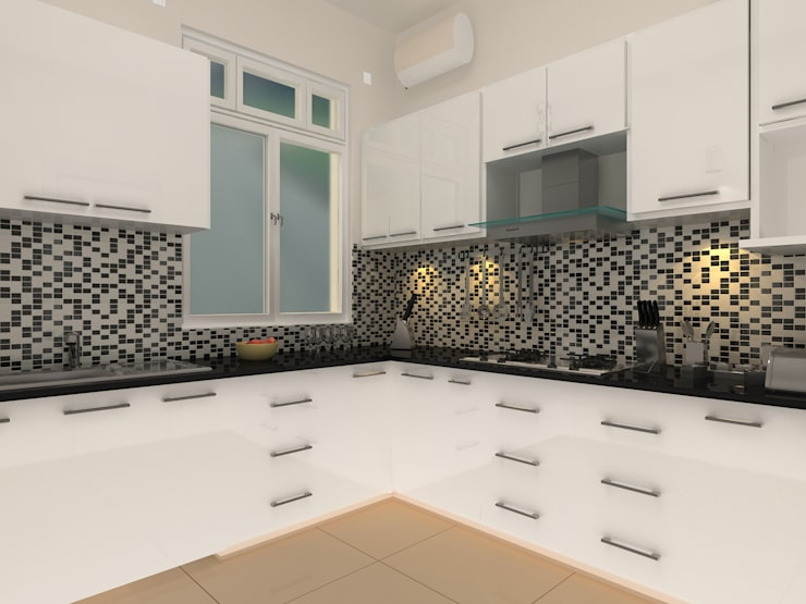 C-1860 Sushant Lok 1, Gurgaon, Haryana:  Kitchen by Indeera Builders Private Limited