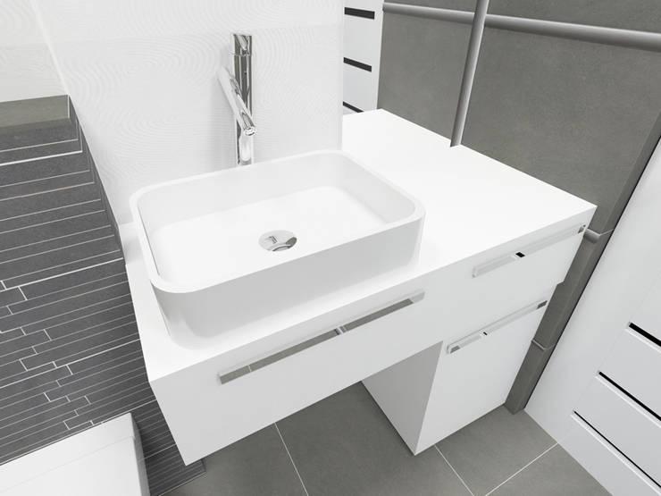 Mała łazienka, duże płytki: styl , w kategorii Łazienka zaprojektowany przez Katarzyna Wnęk,Nowoczesny