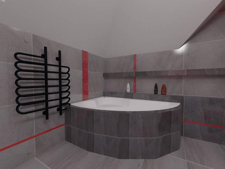 Szara z czerwonym: styl , w kategorii Łazienka zaprojektowany przez Katarzyna Wnęk,Nowoczesny