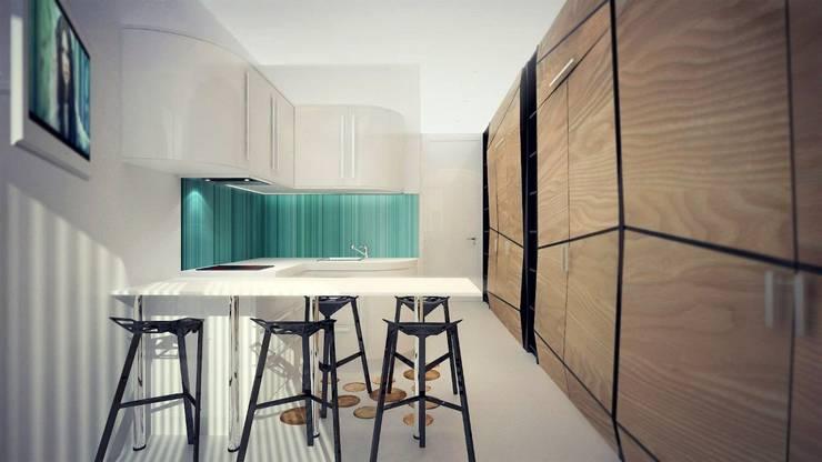 Малогабаритная квартира (Студия) : Гостиная в . Автор – Kakoyan Design, Минимализм