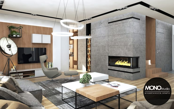 Nowoczesne i eleganckie wnętrze w przestronnym apartamencie: styl , w kategorii Salon zaprojektowany przez MONOstudio,Nowoczesny Kompozyt drewna i tworzywa sztucznego