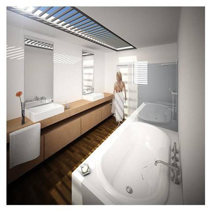 Projeto de Restauro e Ampliação: Casas de banho  por Mendonça Santos Arquitetos & Associados