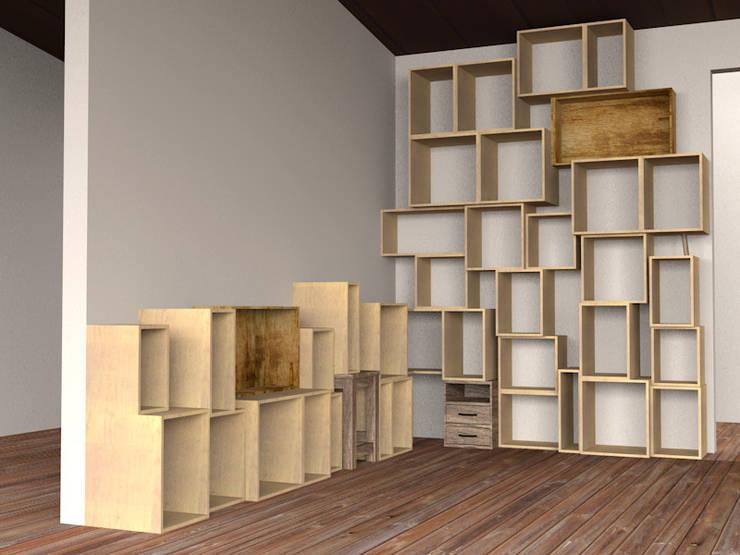 Packing Shelf: hamanakadesignstudioが手掛けたリビングルームです。