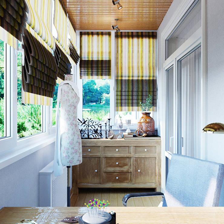 Элегантный интерьер для гостиной с балконом: Tерраса в . Автор – Студия дизайна Interior Design IDEAS