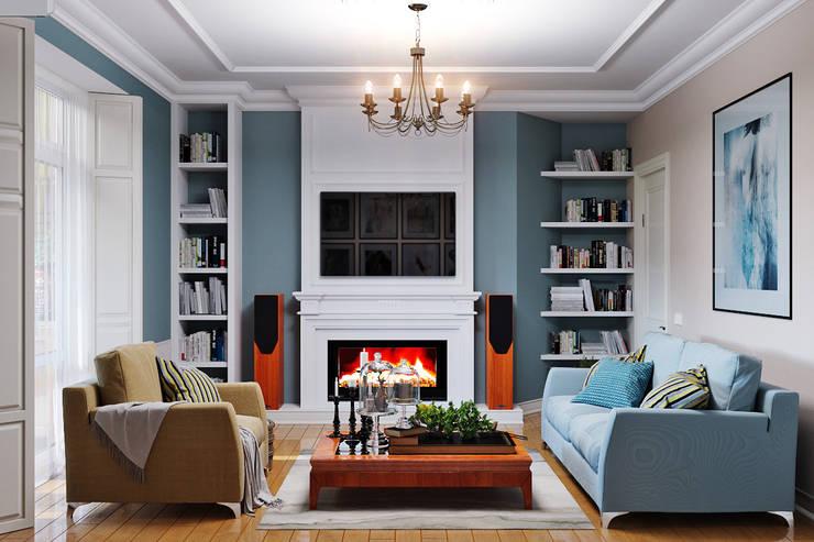 Элегантный интерьер для гостиной с балконом: Гостиная в . Автор – Студия дизайна Interior Design IDEAS