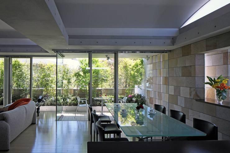 二段テラスの家: AMO設計事務所が手掛けたダイニングです。