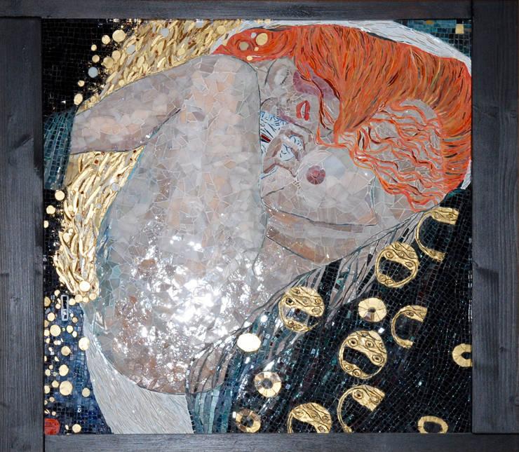 """Obraz z mozaiki, Gustaw Klimt """"Danae"""": styl , w kategorii  zaprojektowany przez Pracownia Mozaiki M,Klasyczny Szkło"""