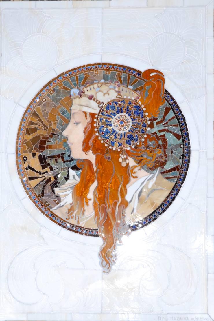 Alfons Mucha, Medalion: styl , w kategorii  zaprojektowany przez Pracownia Mozaiki M,Klasyczny Szkło